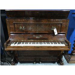 ANTIQUE SCHIEDMAYER & SOEHNE STUTTGART BURL CASED PIANO (REPAIR REQUIRED)
