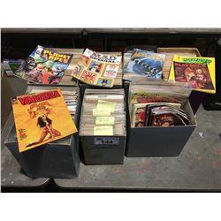 7 BOXES OF ASSTD VINTAGE COMICS & SATIRE MAGAZINES