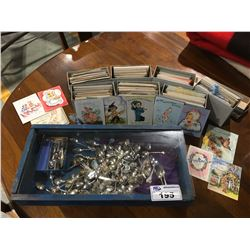 LARGE GROUP OF COLLECTORS SPOONS & BOX OF VINTAGE GREETING CARDS