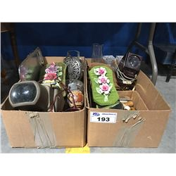 2 BOXES OF ASSTD VINTAGE DECORATIVE PIECES, COLLECTIBLES & MISC.