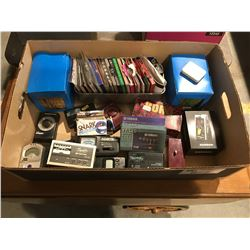 BOX FULL OF ASSTD GUITAR STRINGS, AUDIO TUNERS ECT