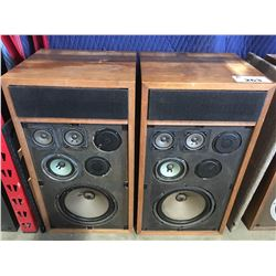 PAIR OF VINTAGE MAGNUM OPUS HOME AUDIO SPEAKERS WITH DUST COVERS