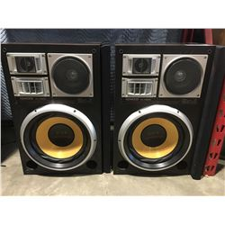 PAIR OF KENWOOD KL-A500 HOME AUDIO SPEAKERS - MODIFIED WITH PYRAMID 500-WATT SUBS COMES WITH DUST