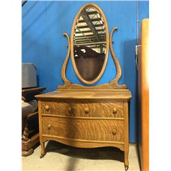 EARLY 1900'S CANADIANA QUARTER SAWN OAK 3 DRAWER DRESSER WITH MIRROR COMES WITH ORIGINAL SKELETON