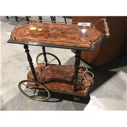 BURL WITH BRASS DRINKS CART
