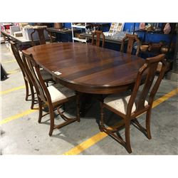 MAHOGANY DINING TABLE WITH 2 LEAVES & 6 CHAIRS