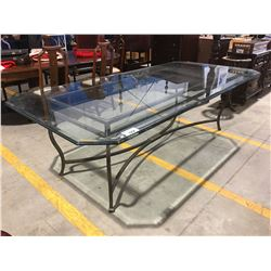 THICK RECTANGULAR GLASS TOP TABLE WITH STEEL BASE (1 SMALL CHIP PRESENT)