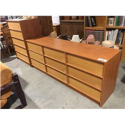 2 PCE TEAK BEDROOM DRESSER SET (LONG DRESSER DAMAGED BOTTOM BACK CORNER)