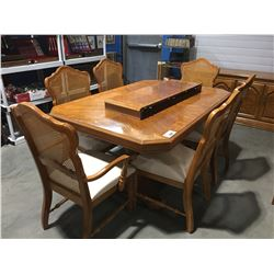 OAK DINING TABLE WITH 1 LEAF 6 CHAIRS AND MATCHING SIDEBOARD (TABLE TOP LOOSE NEEDS TO BE BOLTED