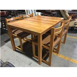 5 PCE WOODEN DINETTE SET - TABLE WITH 4 CHAIRS