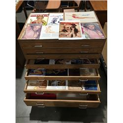 8 DRAWERS FULL OF ASSTD PINUP CALENDARS, BOOKS & ASSTD ART PRINTS - 7 DRAWER ROLING CABINET