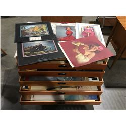 5 DRAWERS OF ASSTD VINTAGE PINUP POSTERS, CALENDARS & ASSTD ART PRINTS - 5 DRAWER CABINET INCLUDED
