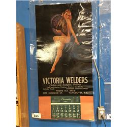 1955 THE FAN DANCER PINUP GIRL CALENDAR - VICTORIA WELDERS - LAMINATED