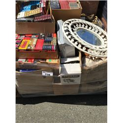 PALLET LOT OF MISC. TAPES, HOUSEHOLD ITEMS ECT.