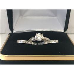 LADIES 14K WHITE GOLD DIAMOND 3 RING SET CONTAINING 45 DIAMONDS - APPRAISED VALUE $11005.60