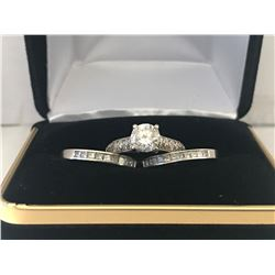 LADIES 14K WHITE GOLD DIAMOND 3 RING SET CONTAINING 45 DIAMONDS - APPRAISED VALUE $11005.60