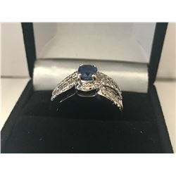LADIES 18K WHITE GOLD SAPPHIRE & 70 DIAMOND RING - APPRAISED VALUE $8605.00