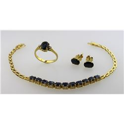 LADIES 14K & 18K SAPPHIRE & DIAMOND JEWELRY SET - RING, PAIR EARRINGS PLUS BRACELET