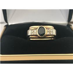 UNISEX 14K WHITE & YELLOW GOLD SAPPHIRE & EIGHT DIAMOND RING - APPRAISED VALUE $7240.00
