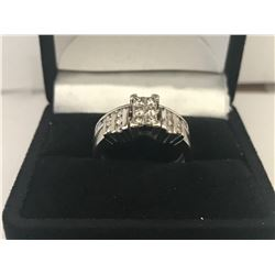 LADIES 14K WHITE GOLD 26 DIAMOND RING - APPRAISED VALUE $5840.00 (0.84CTS DIAMONDS , 5.7GMS GOLD )