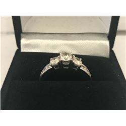 LADIES 14 WHITE GOLD 9 DIAMOND RING - APPRAISED VALUE $5010.00 (0.86CTS DIAMONDS, 2.5GMS GOLD)