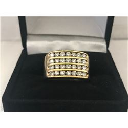 UNISEX 10K YELLOW GOLD RING CONTAINING 28 DIAMONDS - APPRAISED VALUE $4925.00 (0.84CTS DIAMONDS,