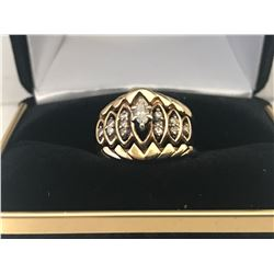 LADIES 14K WHITE & YELLOW GOLD RING CONTAINING 13 DIAMONDS - APPRASIED VALUE $4900.00 (0.81CTS