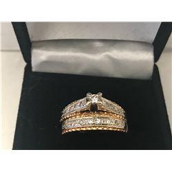 LADIES 14K WHITE & YELLOW GOLD RING SET CONTAINING 18 DIAMONDS - APPRAISED VALUE $4465.00 (0.42CTS