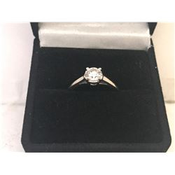 LADIES 14K WHITE GOLD DIAMOND SOLITAIRE RING - APPRAISED VALUE $4015.00 (0.58CTS DIAMOND, 1.9GMS