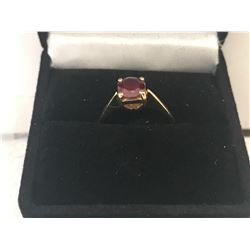 LADIES 18K YELLOW GOLD RUBY SOLITAIRE RING - APPRAISED VALUE $3070.00 (0.80CTS RUBY, 2.4GMS GOLD)