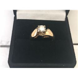 LADIES 14K WHITE & YELLOW GOLD DIAMOND SOLITAIRE RING - APPRAISED VALUE $3056.50 (0.56CTS DIAMOND,