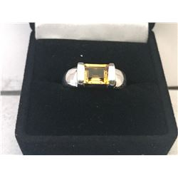 LADIES 10K WHITE GOLD RING CITRINE SOLITAIRE - APPRAISED VALUE $1910.00 (1.64CTS CITRINE, 5.8GMS