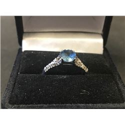 LADIES 14K WHITE GOLD SAPPHIRE & 30 DIAMOND RING - APPRAISED VALUE $2790.00 (0.90CTS SAPPHIRE,