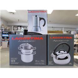 LAGOSTINA 1.9L WHISTLING KETTLE, LAGOSTINA 7.5L PASTA COOKER, LAGOSTINA ESPRESSO COFFEE MAKER