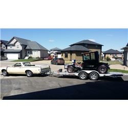 SELLING AS ONE LOT! 1921 FORD MODEL T. 1973 FORD RANCHERO 500. 2014 16ft TILT DECK ALUMA TRAILER