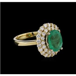 2.63 ctw Emerald and Diamond Ring - 14KT Yellow Gold