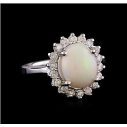 2.10 ctw Opal and Diamond Ring - 14KT White Gold