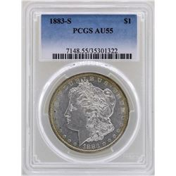 1883-S $1 Morgan Silver Dollar Coin PCGS AU55