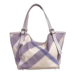 Burberry White Purple Canvas Leather Supernova Check Tote Bag