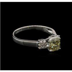 1.21 ctw Fancy Greenish Yellow Diamond Ring - 14KT White Gold