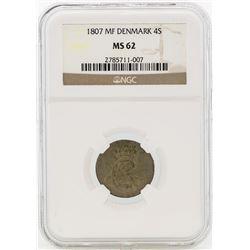 1807MF Denmark 4 Skilling Coin NGC MS62