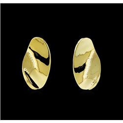 Concave Nugget Earrings - Gold Plated
