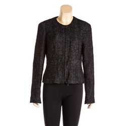 Chanel Black Metallic Sheen Tweed Zip Front Jacket