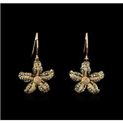0.69 ctw Light Brown Diamond Earrings - 14KT Yellow Gold