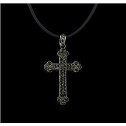 0.45 ctw Black Diamond Pendant and Rubber Cord - 18KT White Gold