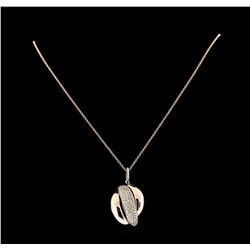 0.93 ctw Diamond Pendant With Chain - 14KT Rose and White Gold