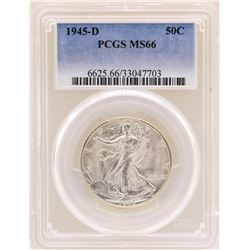 1945-D Walking Liberty Half Dollar Coin PCGS MS66