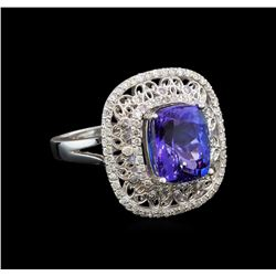 14KT White Gold 5.29 ctw Tanzanite and Diamond Ring