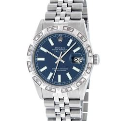 Rolex Mens Stainless Steel 36MM Blue Index Diamond Datejust Wristwatch