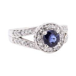 1.74 ctw Sapphire And Diamond Ring - 14KT White Gold